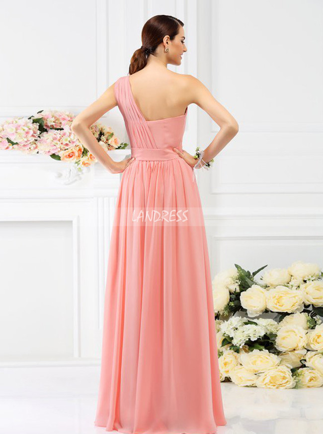 Coral One Shoulder Bridesmaid Dresses,Floor Length Bridesmaid Dress,11393