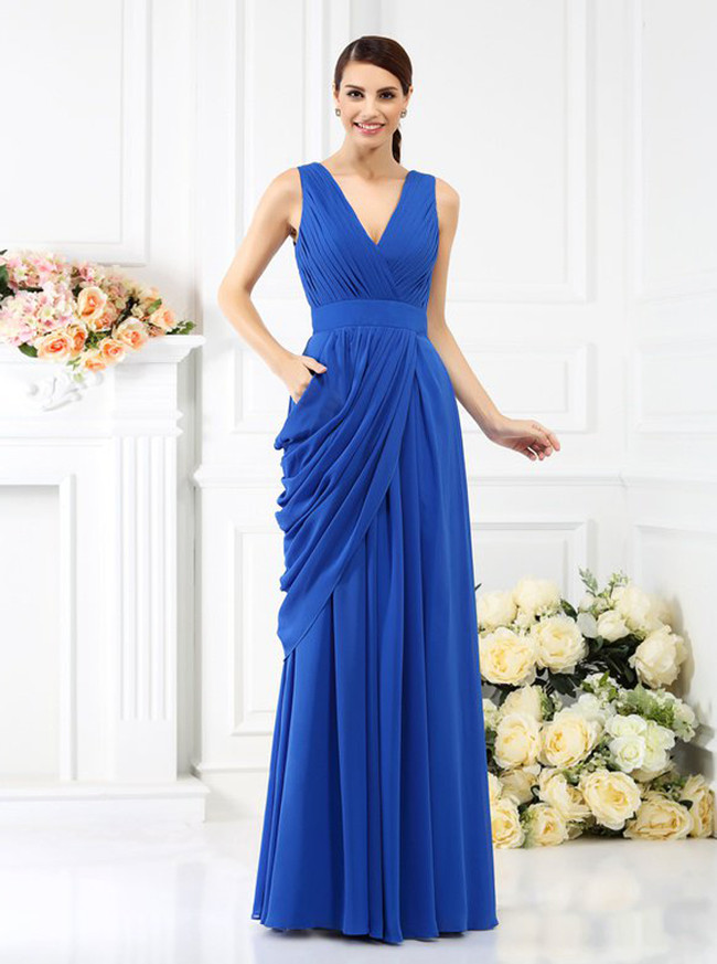 Royal Blue Bridesmaid Dresses,Draped Bridesmaid Dress,11394