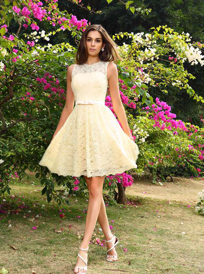 Light Yellow Short Homecoming Dresses,Lace Bridesmaid Dress,11396