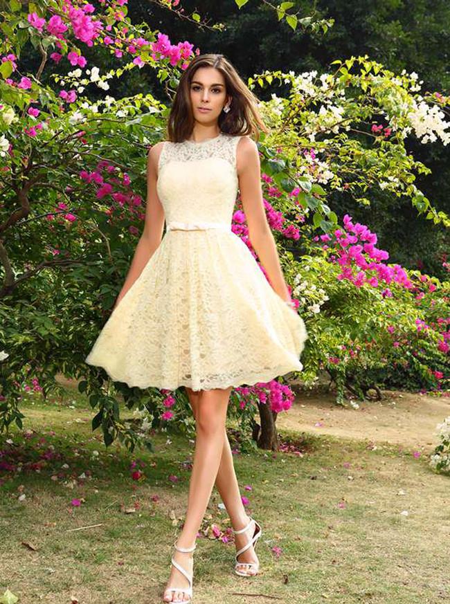 Light Yellow Short Homecoming Dresses,Lace Bridesmaid Dress,11396