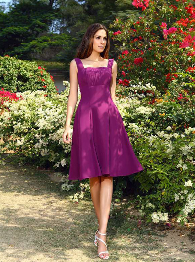 Short Bridesmaid Dresses with Straps,Vintage Bridesmaid Dress,11397