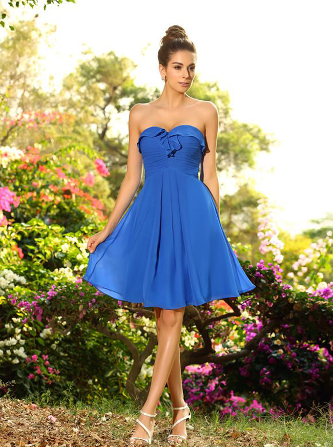 Blue Sweetheart Bridesmaid Dresses,Short Beach Bridesmaid Dress,11398
