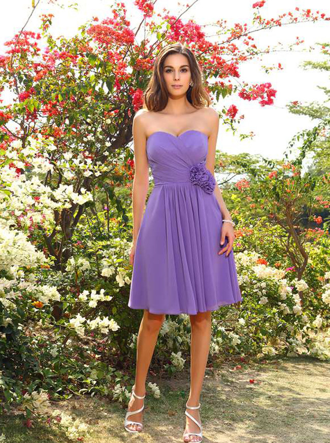 Light Purple Bridesmaid Dresses,Chiffon Short Bridesmaid Dress,11399