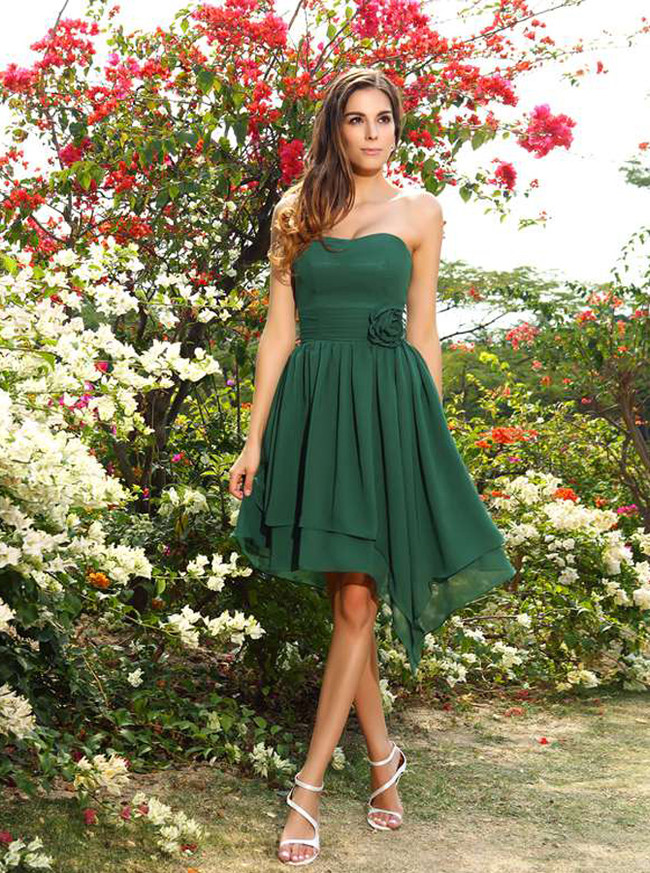 Asymmetrical Short Bridesmaid Dresses,Strapless Bridesmaid Dress,11400