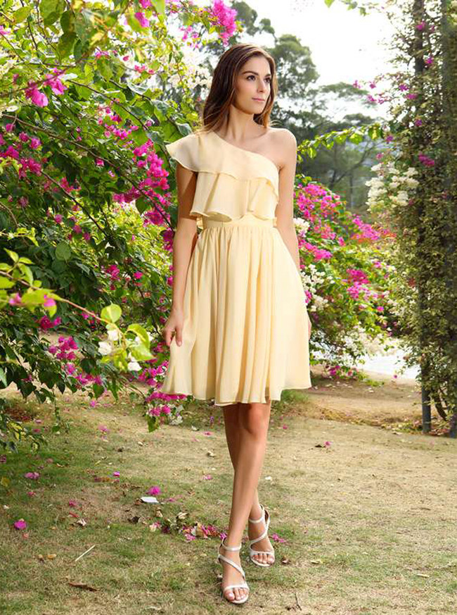 Light Yellow Bridesmaid Dresses,One Shoulder Short Bridesmaid Dress,11401