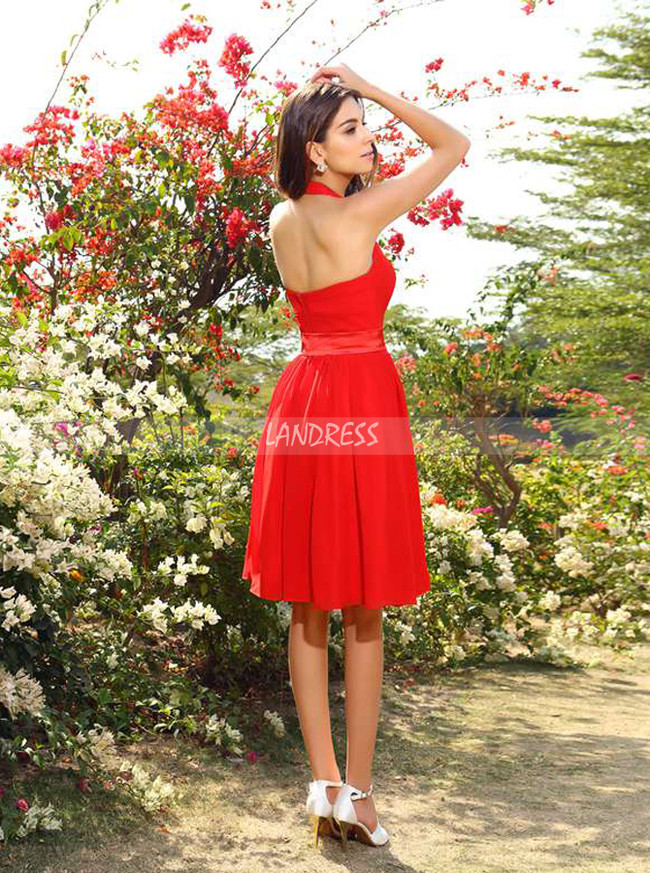 Red Halter Bridesmaid Dresses,Knee Length Bridesmaid Dress with Sash,11403