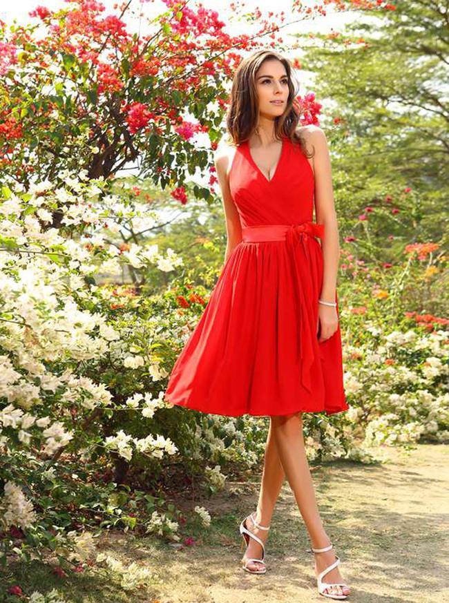 Red Halter Bridesmaid Dresses,Knee Length Bridesmaid Dress with Sash,11403