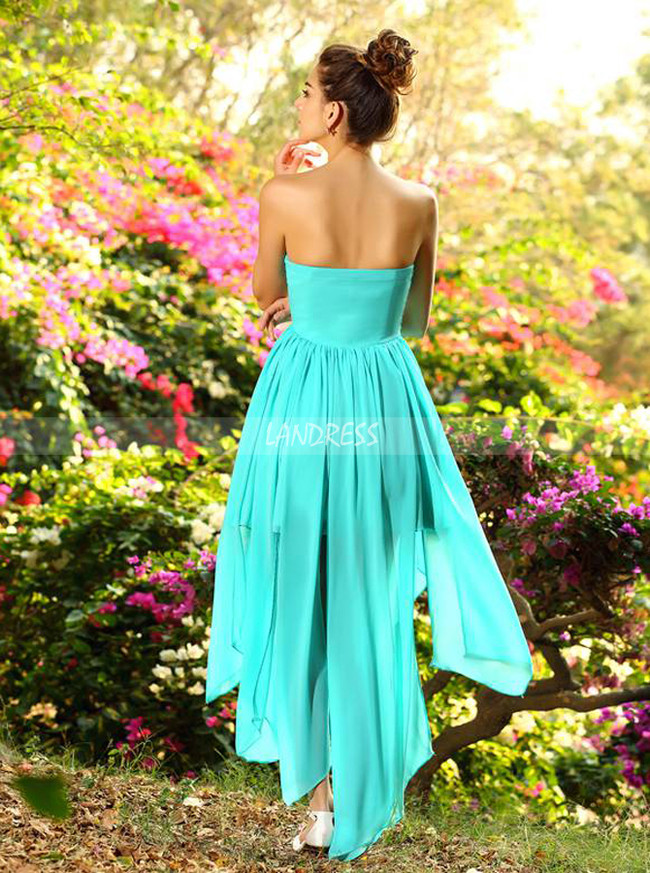 Light Turquoise High Low Homecoming Dresses,Chiffon Bridesmaid Dress,11404
