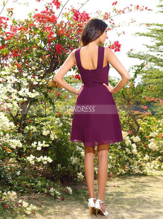 Simple Bridesmaid Dresses,Short Bridesmaid Dress with Straps,11405