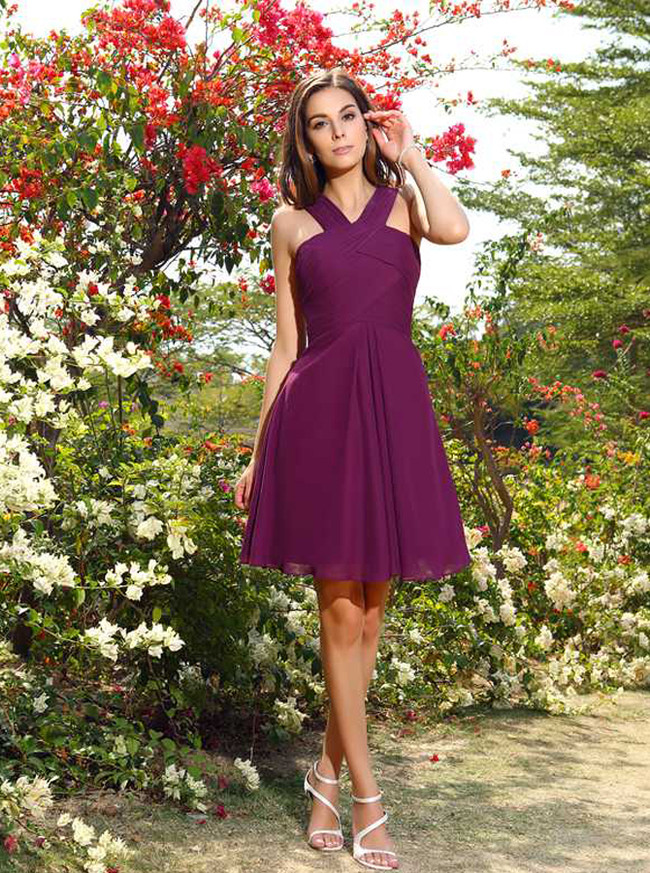 Simple Bridesmaid Dresses,Short Bridesmaid Dress with Straps,11405
