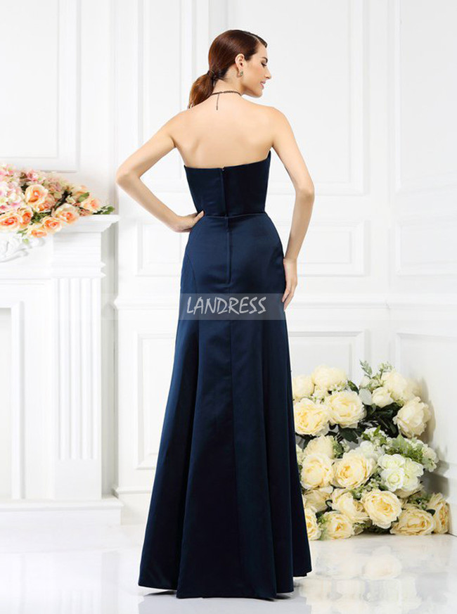 Dark Navy Long Bridesmaid Dresses,Satin Bridesmaid Dress,11406