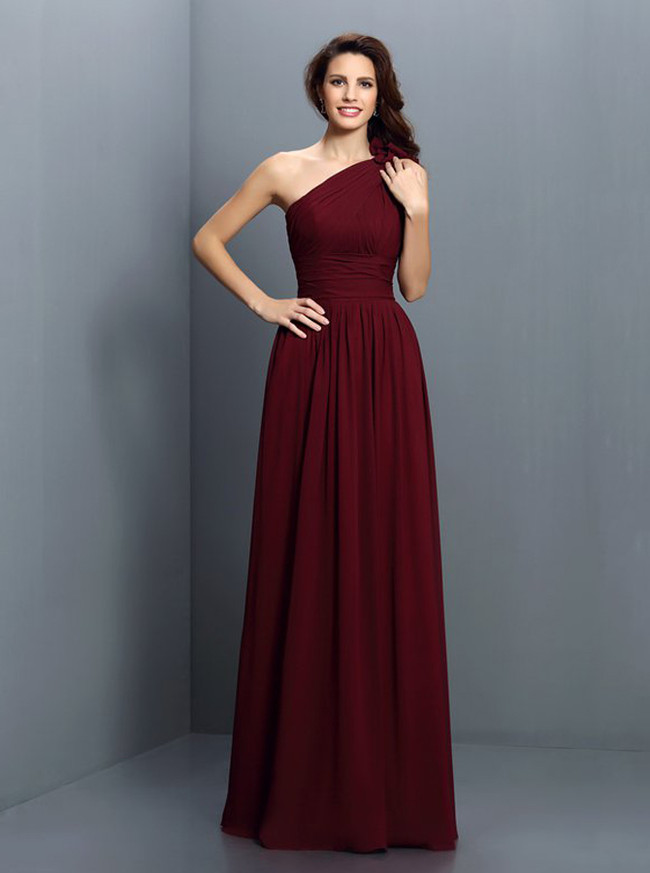 Burgundy One Shoulder Bridesmaid Dresses,Elegant Bridesmaid Dress,11407