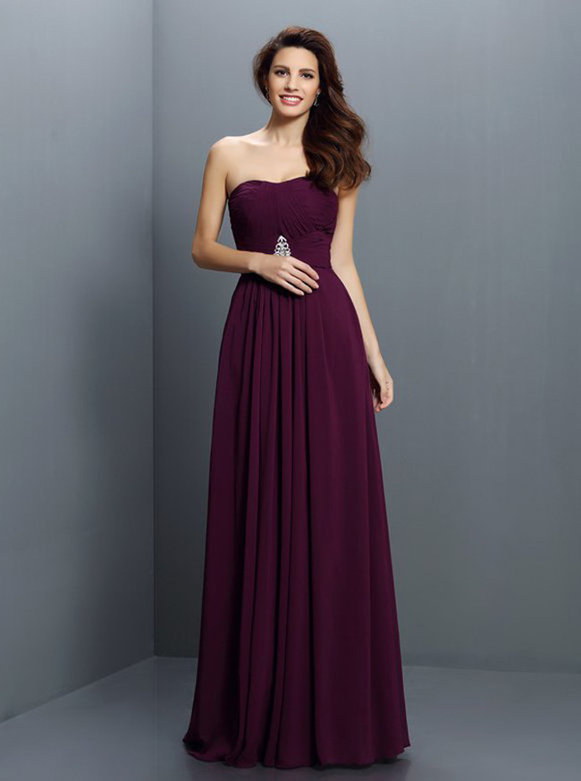 Long Grape Bridesmaid Dresses,Chiffon Chic Bridesmaid Dress,11408