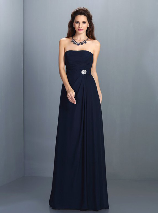 Dark Navy Bridesmaid Dresses,Strapless Bridesmaid Dress,11409
