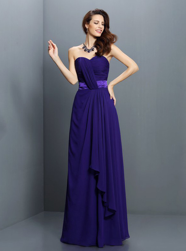 Sweetheart Bridesmaid Dresses,Chiffon Draped Bridesmaid Dress,11410
