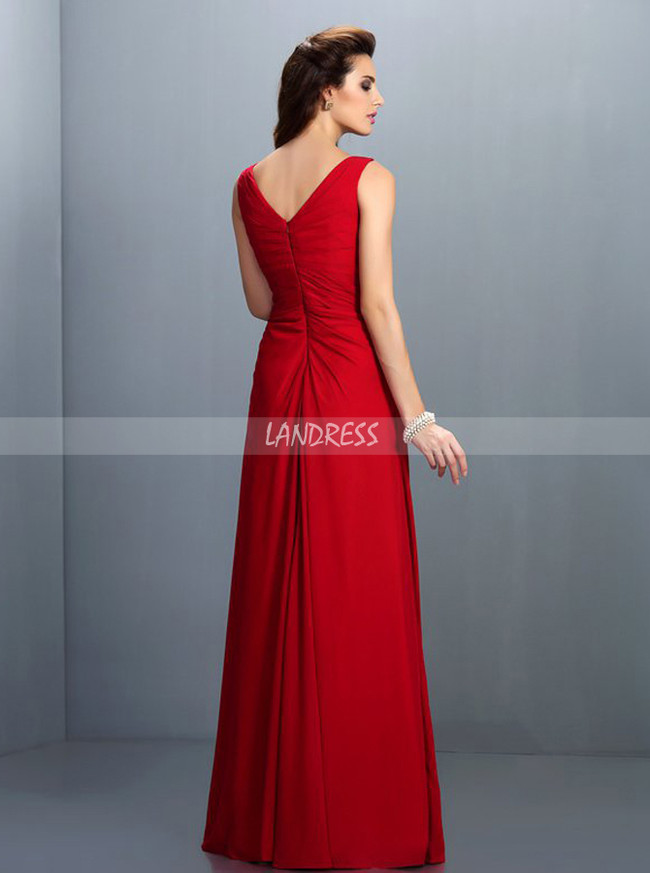 Red Bridesmaid Dresses,V-neck Bridesmaid Dress,11411