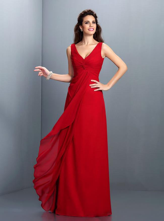 Red Bridesmaid Dresses,V-neck Bridesmaid Dress,11411
