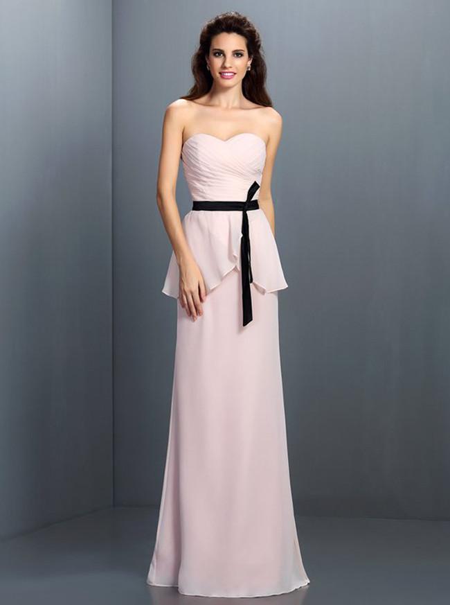 Blush Pink Bridesmaid Dresses with Belt,Sweetheart Bridesmaid Dress,11412