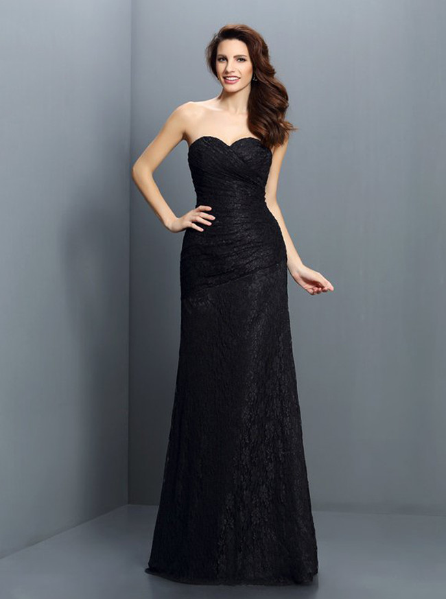 Fitted Lace Bridesmaid Dresses,Black Bridesmaid Dress,11413