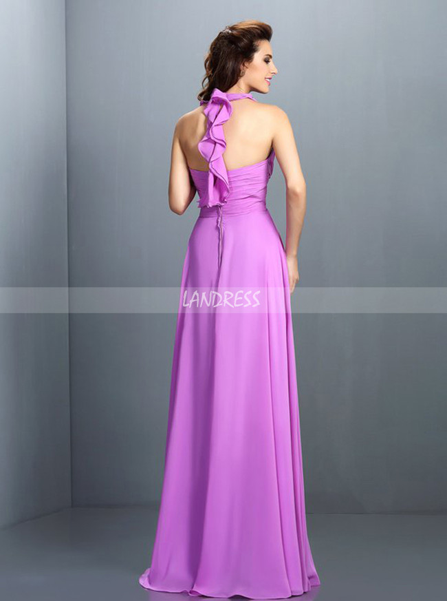 Halter Bridesmaid Dresses,Chiffon Beach Bridesmaid Dress,11414