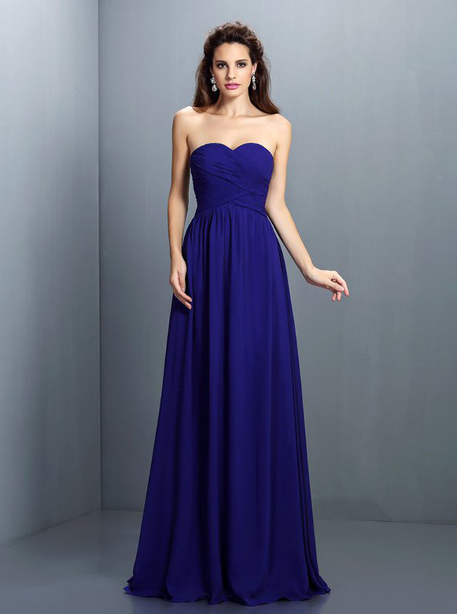 Royal Blue Bridesmaid Dresses,Sweetheart Bridesmaid Dress,11415