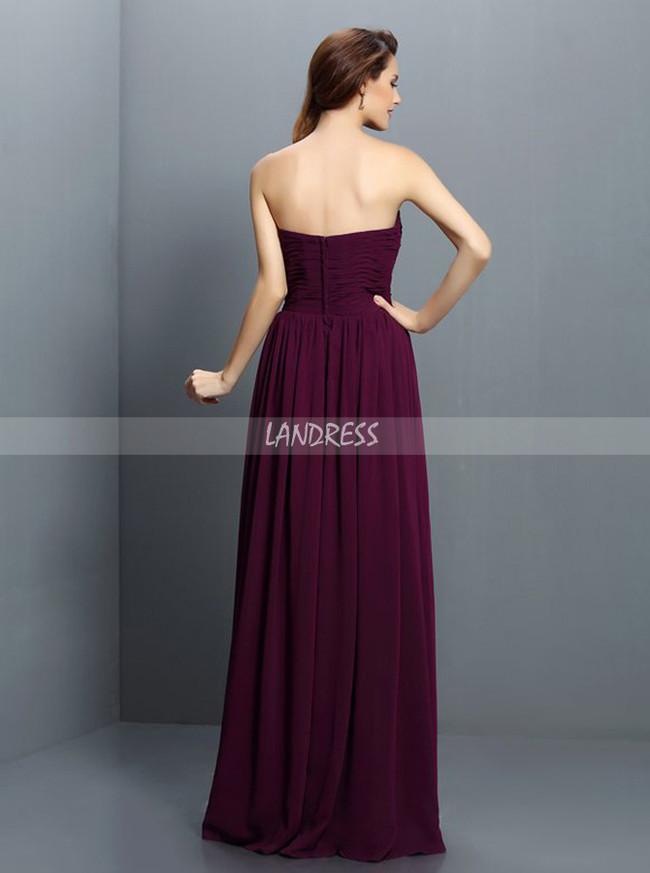 Grape Simple Bridesmaid Dresses,Chiffon Long Bridesmaid Dress,11416