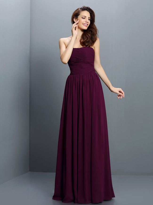 Grape Simple Bridesmaid Dresses,Chiffon Long Bridesmaid Dress,11416