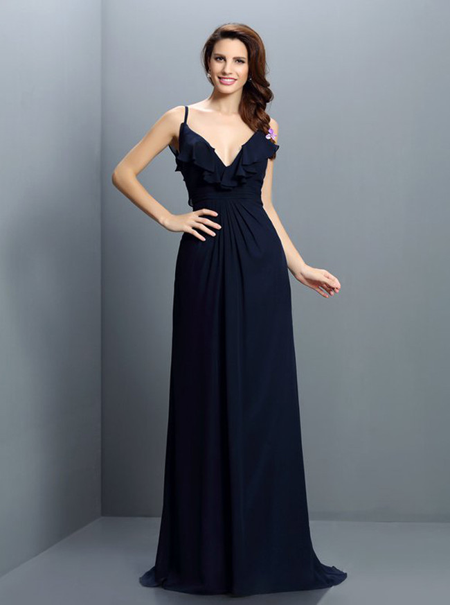 Dark Navy Bridesmaid Dresses with Flounce,Chiffon Long Bridesmaid Dress,11418