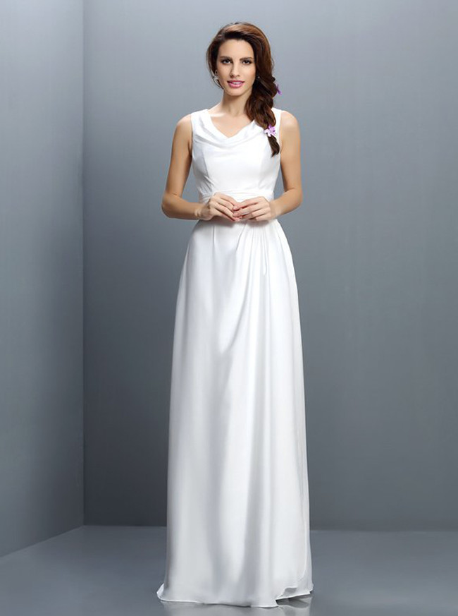 White Cowl Neck Bridesmaid Dresses,Modest Bridesmaid Dress,11419