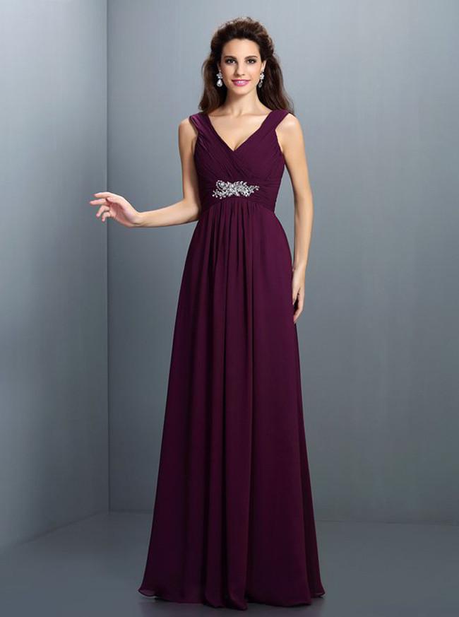 Grape Bridesmaid Dresses with Straps,Empire Bridesmaid Dress,11420
