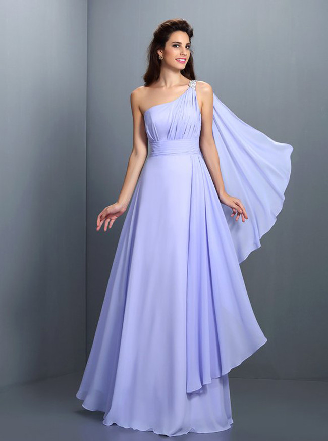 Lavender Bridesmaid Dresses,One Shoulder Bridesmaid Dress,11421