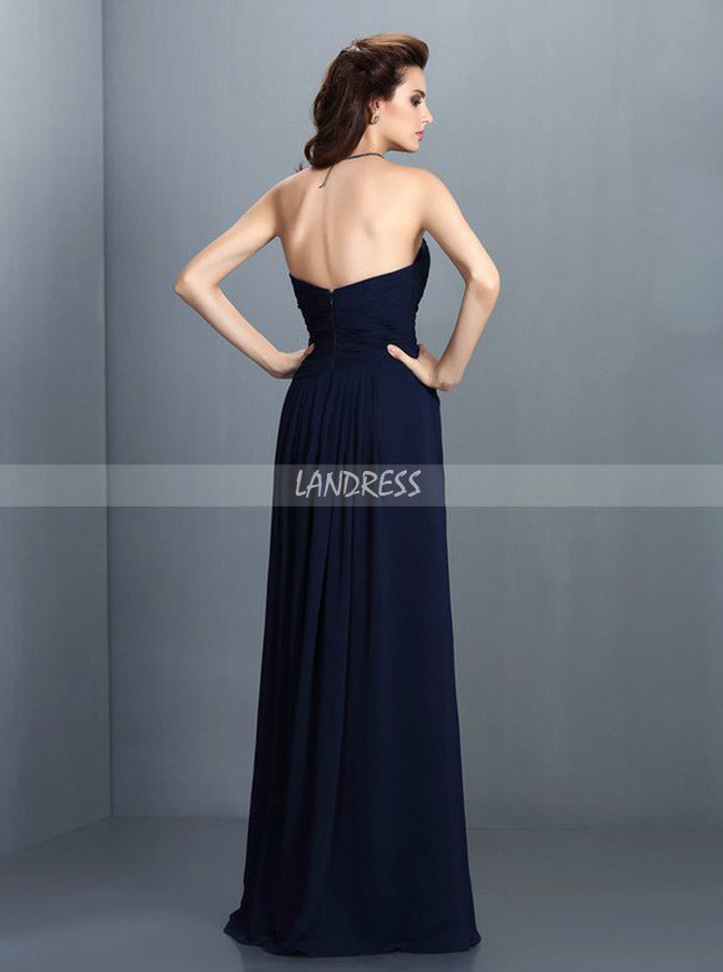 Dark Navy Bridesmaid Dresses,Sweetheart Bridesmaid Dress,11422