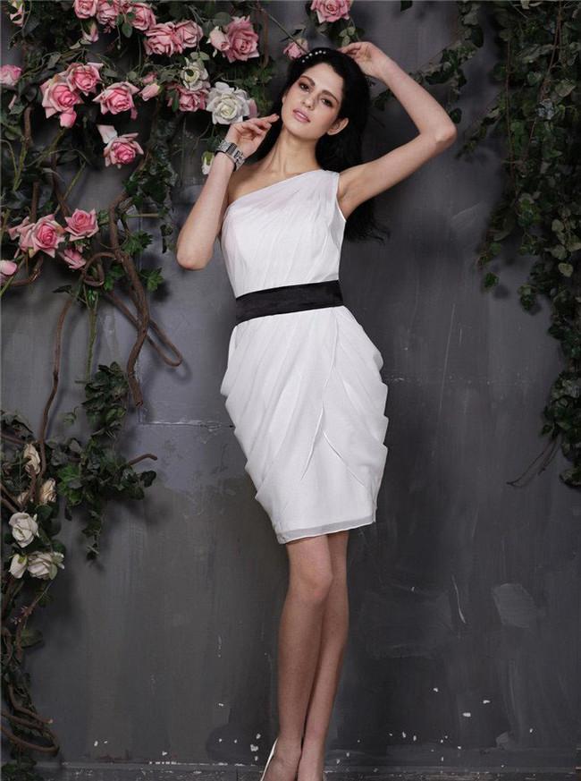Draped White Cocktail Dresses,Wedding Reception Dresses,One Shoulder Short Prom Dress,11431