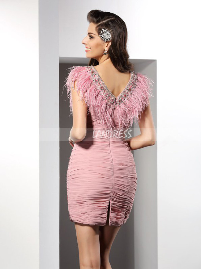 Tight Ruched Cocktail Dresses with Feather,Mini Short Cocktail Dress,11432