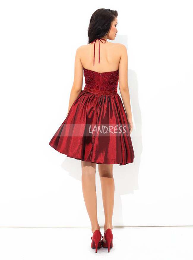 Burgundy Cocktail Dresses,Halter Homecoming Dress,Short Prom Dress,11434