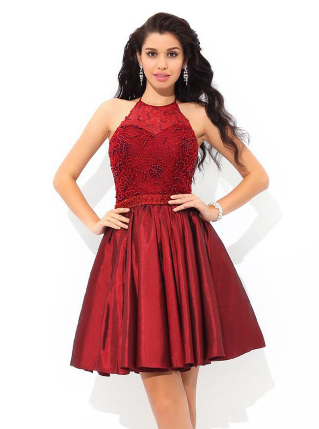 Burgundy Cocktail Dresses,Halter Homecoming Dress,Short Prom Dress,11434