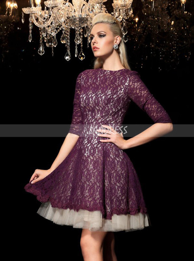 Lace A-line Cocktail Dresses,Homecoming Dress with Sleeves,11436