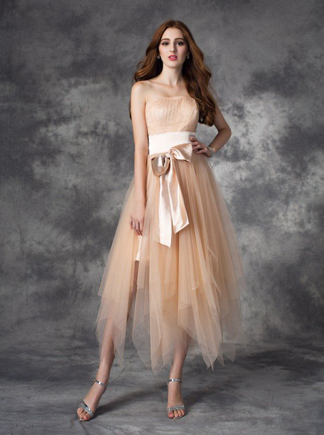 Champagne Asymmetrical Tulle Homecoming Dresses,Strapless Short Prom Dress,11437