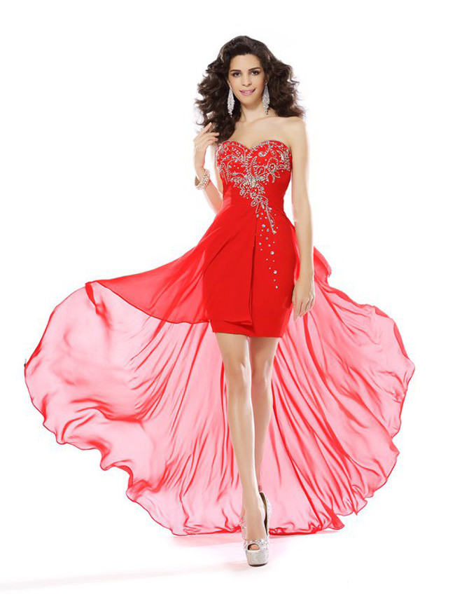 Red High Low Homecoming Dresses,Chiffon Short Prom Dress,11440
