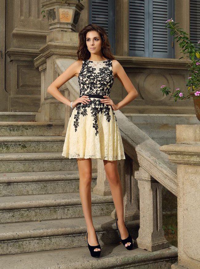 Lace Homecoming Dresses,A-line Cocktail Dress,Short Prom Dress,11441