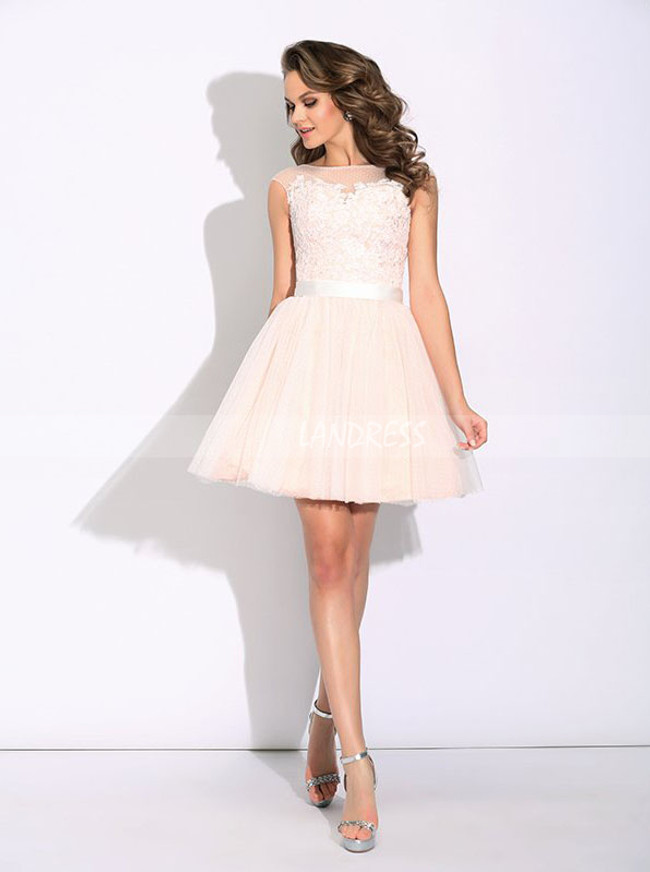 Tulle Short Prom Dresses,Blush Pink Sweet 16 Dress,11443