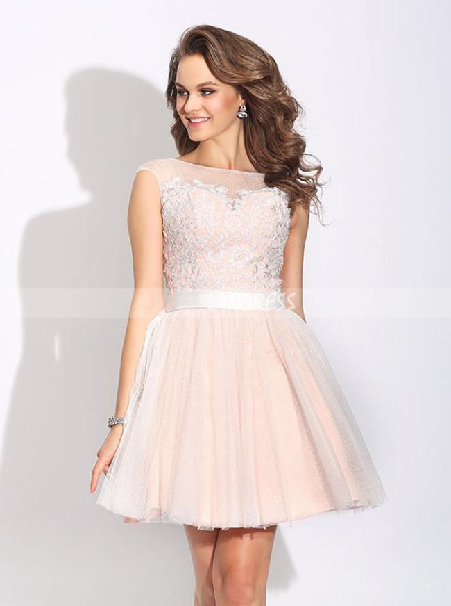 Tulle Short Prom Dresses,Blush Pink Sweet 16 Dress,11443