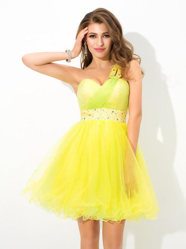 Lemon One Shoulder Sweet 16 Dresses,Tulle Princess Short Prom Dress,11445