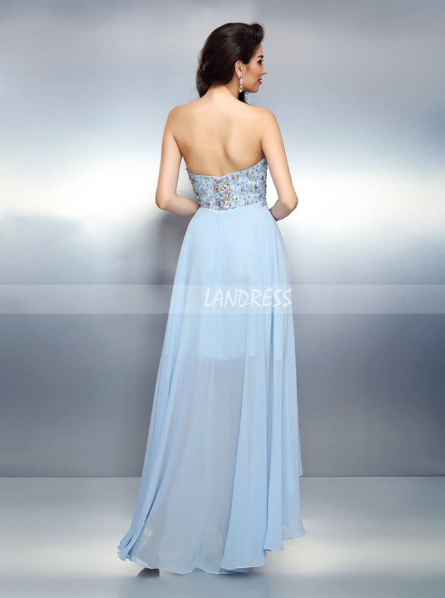 SkyBlue Sweetheart Homecoming Dresses,High Low Prom Dress,11448