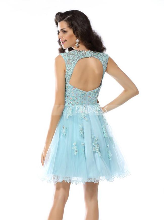 SkyBlue Homecoming Dresses,Cutout Short Prom Dress,11449
