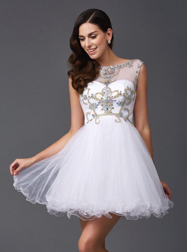 White Tulle Sweet 16 Dresses,Short Homecoming Dress,11450