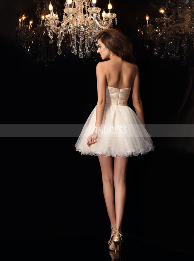 Champagne Tulle Sweet 16 Dresses,Strapless Short Prom Dresses,11451
