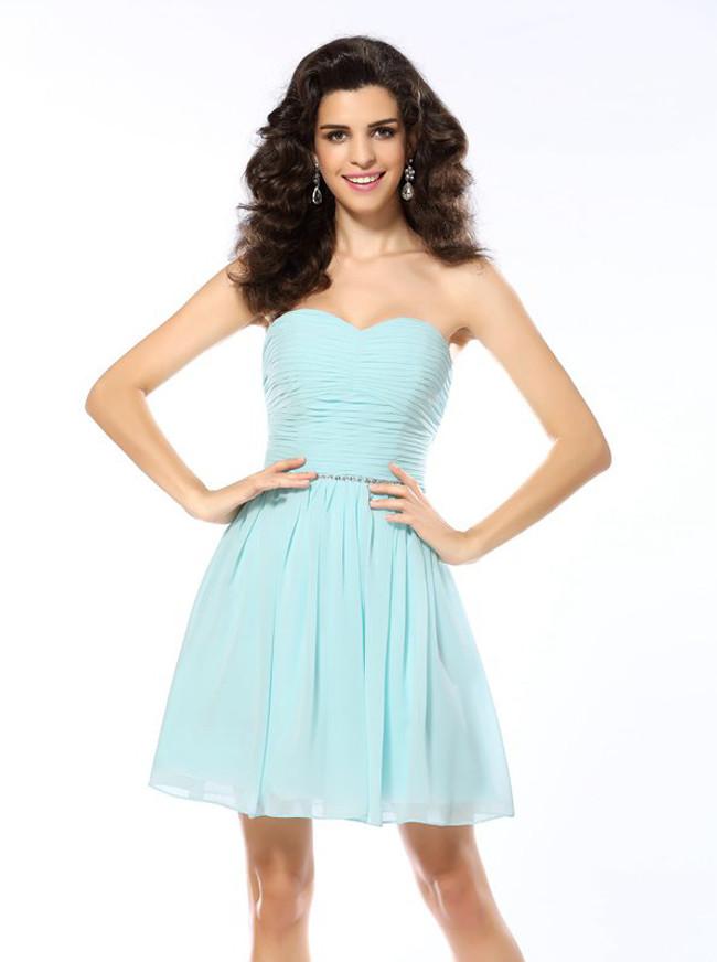 Ruched Sweetheart Homecoming Dresses,Short Chiffon Prom Dress,11452