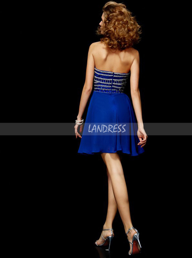 Royal Blue Strapless Cocktail Dresses,Sparkly Homecoming Dress,11453