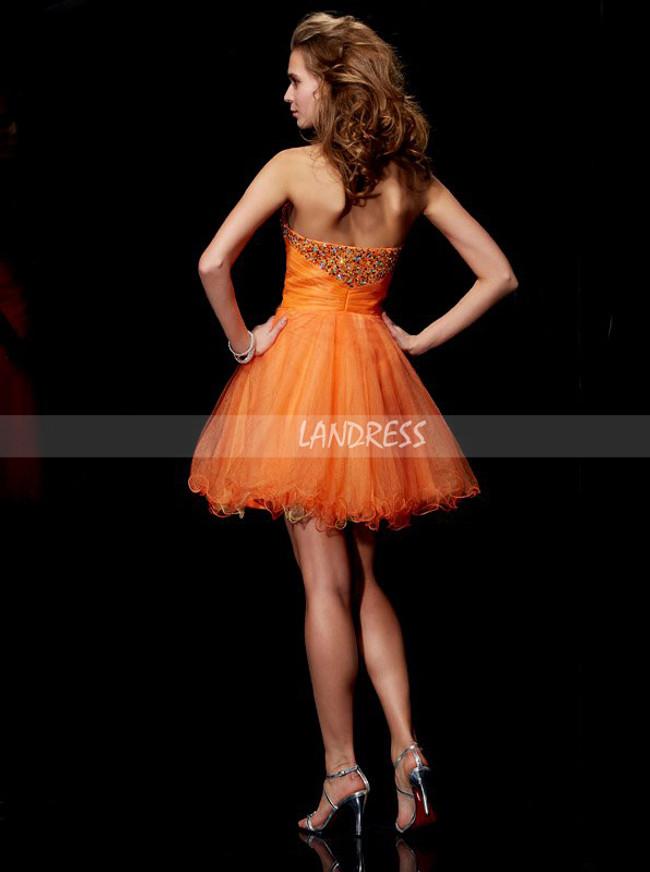 Orange Tulle Sweet 16 Dresses,Sweetheart Beaded Short Prom Dress,11456